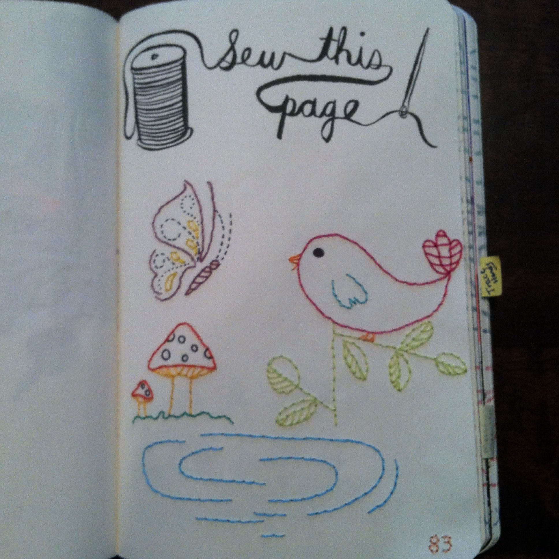 Wreck this journal- my sew this page. I decided to keep it ...  Wreck This Journal Sew This Page