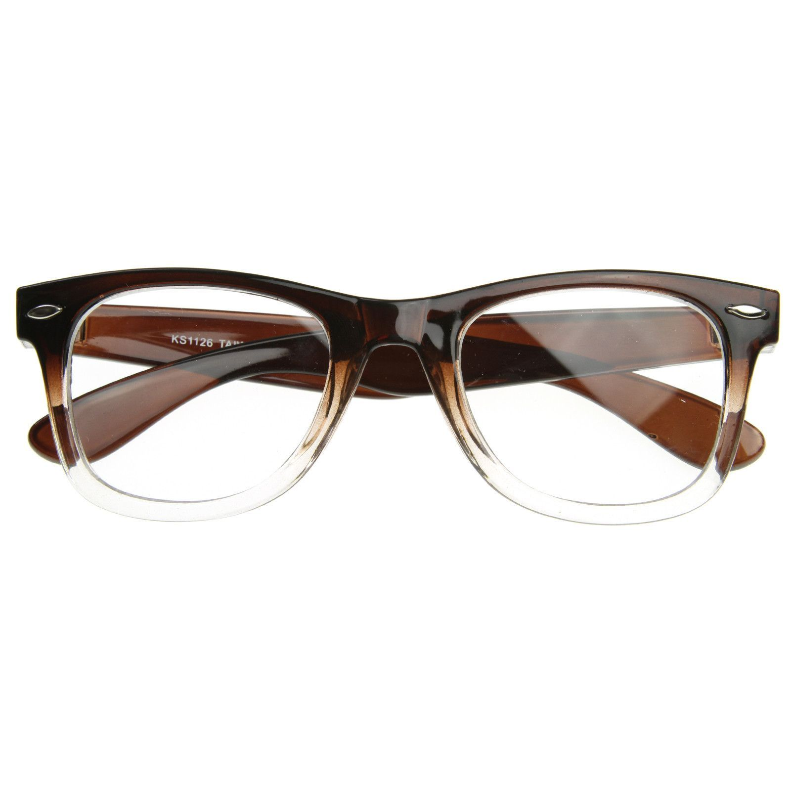 0920108a5dd Two Tone Retro Color Fade Clear Lens Horned Rim Glasses 8536
