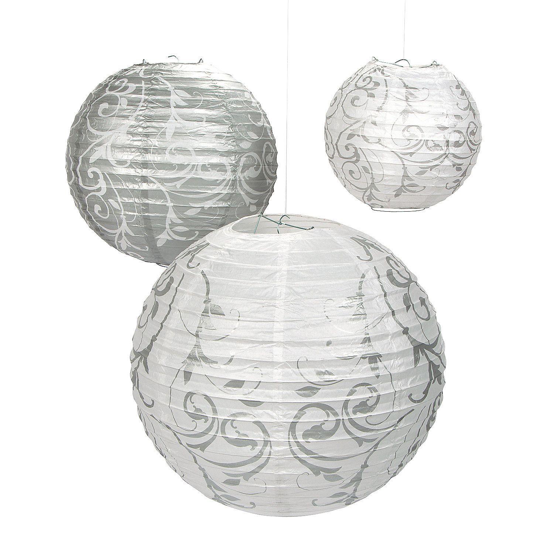 Silver Swirl Hanging Paper Lanterns | Paper lanterns, Hanging paper ...