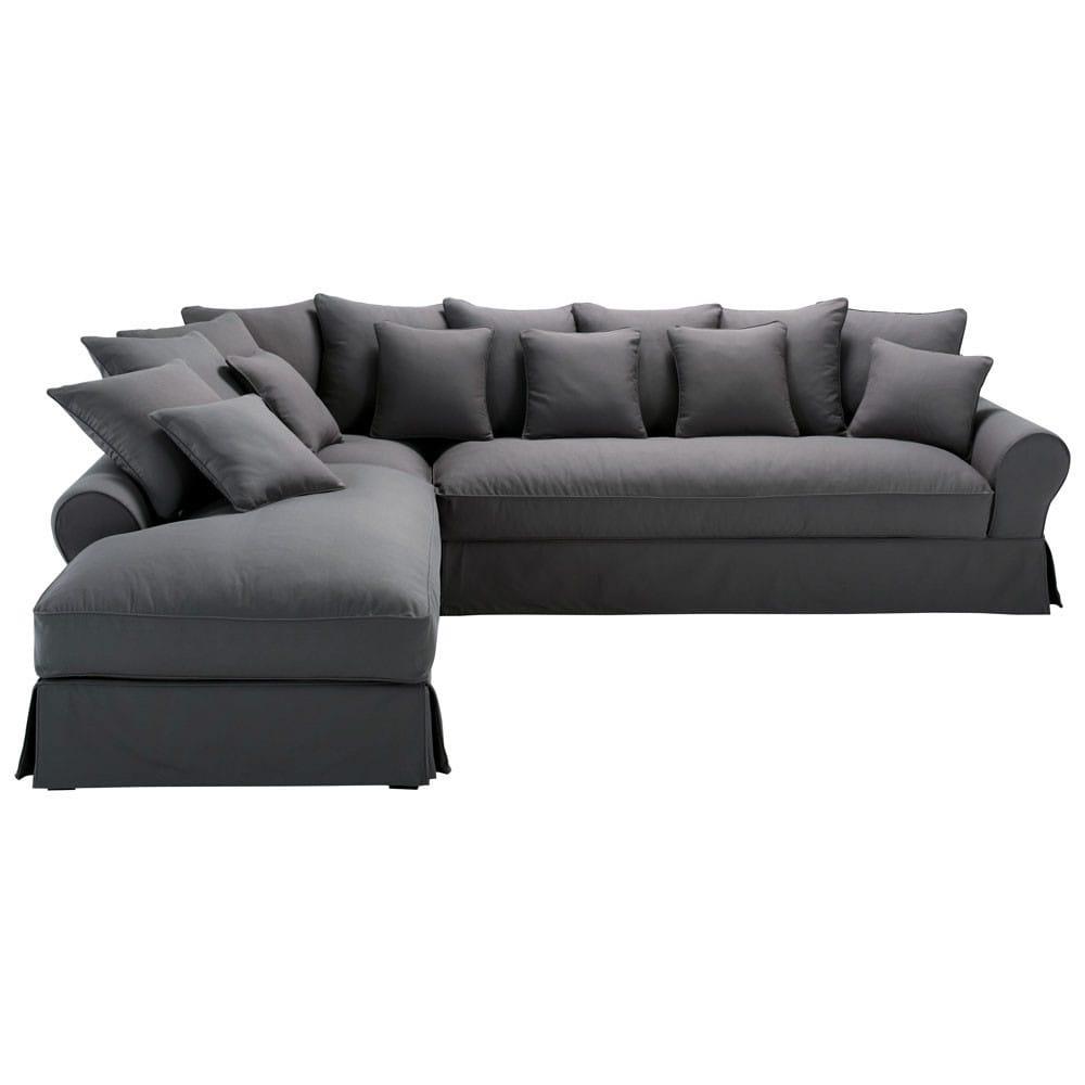 Sofa Esquinero Izquierdo De 6 Plazas De Algodon Gris Pizarra