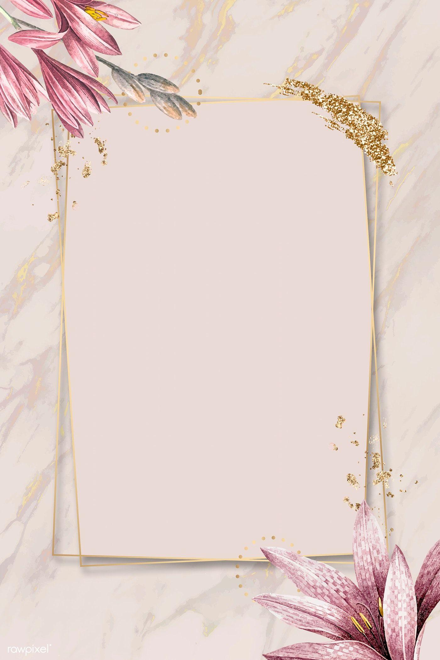 Download Premium Illustration Of Pink Amaryllis Pattern With Gold Frame Pink Amaryllis Flower Background Wallpaper Pink Background