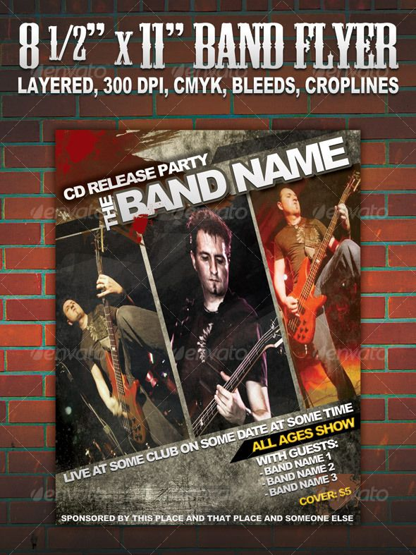 Band Flyer/Poster 8 1/2 | Music Flyer, Font Logo And Fonts