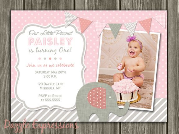 Printable Pink and Gray Elephant Birthday Invitation | Girl First ...