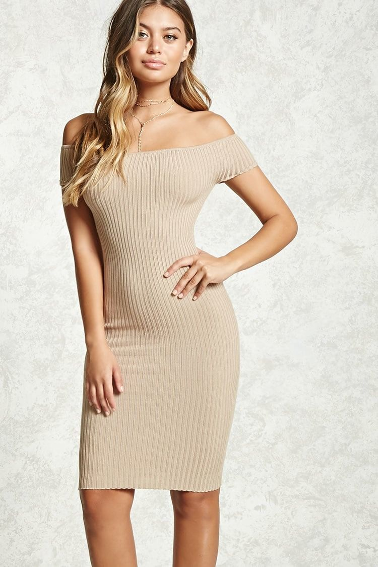 b1a71d747fdc Style Deals - A ribbed knit dress featuring an elasticized off-the-shoulder  neckline, short sleeves, and a bodycon silhouette.