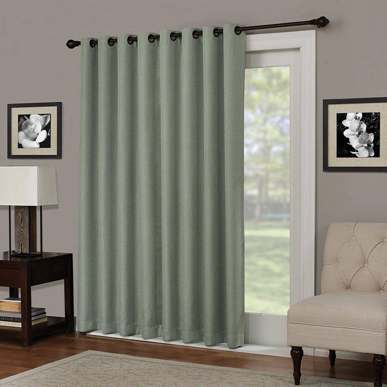 Inch Sage Solid Color Blackout Sliding Door Curtain Green