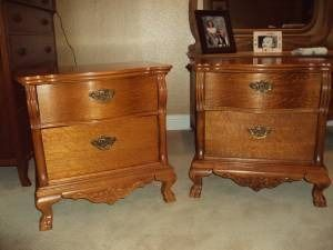$300 Two oak nightstands, Victorian Sampler Collection