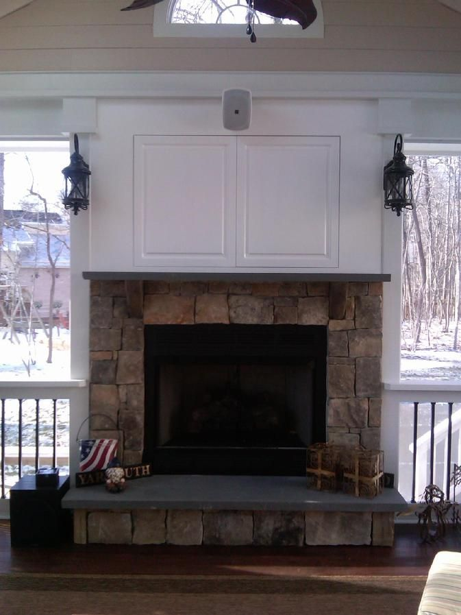 Hidden Tv Over Fireplace Cabinet Above