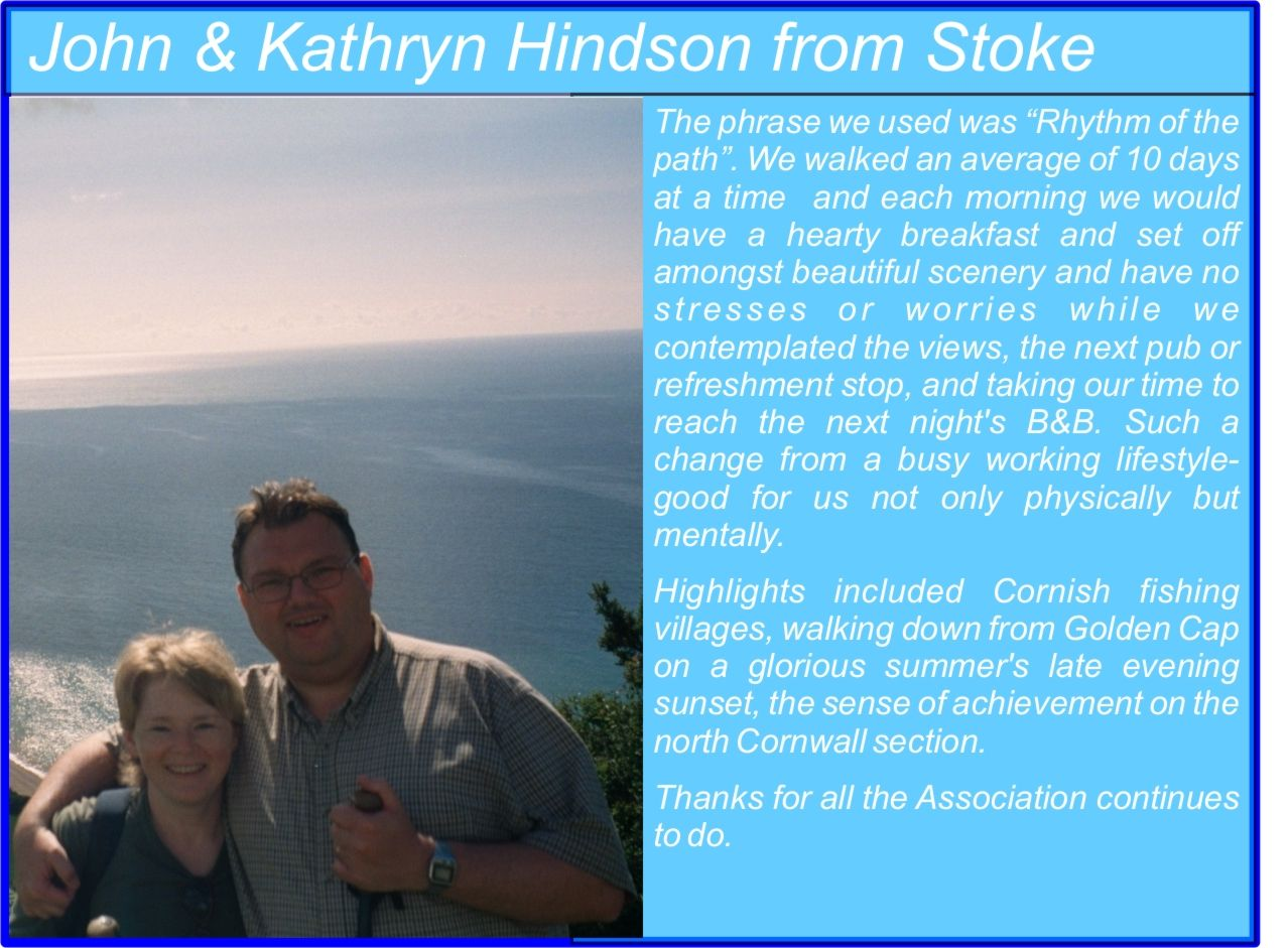 John and Kathryn Hindson South West Coast Path