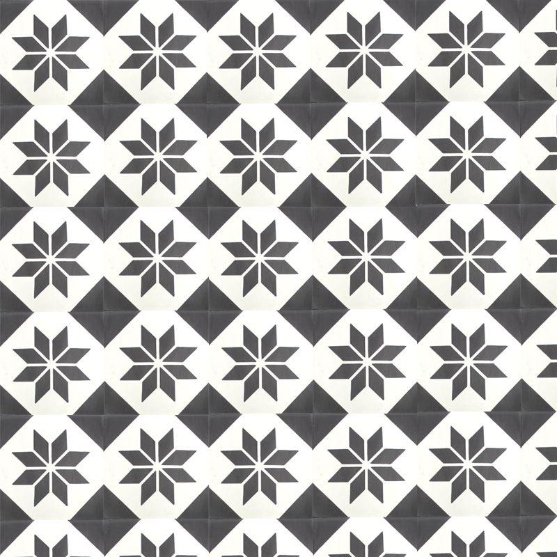 carreau de ciment décor étoile - carreau ciment noir et blanc - carreau de cimen