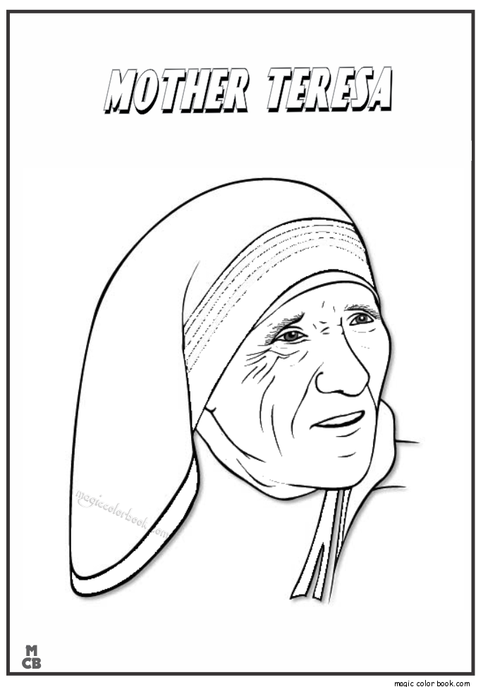 Famous People coloring pages mother teresa 01 | Prek Saint Theresa ...