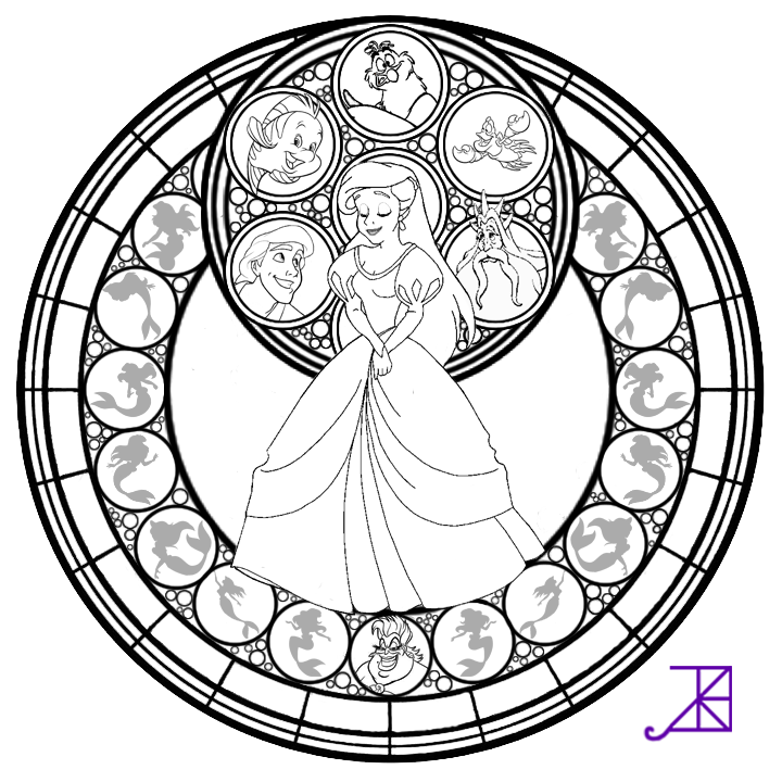 Ariel Stained Glass Line Art By Akili Amethyst On DeviantART Coloring Page