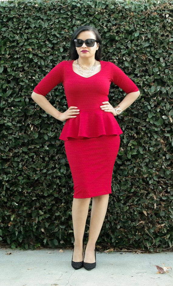 Peplum Knee Length Dress - Plus Size - Sweetheart Neck ...