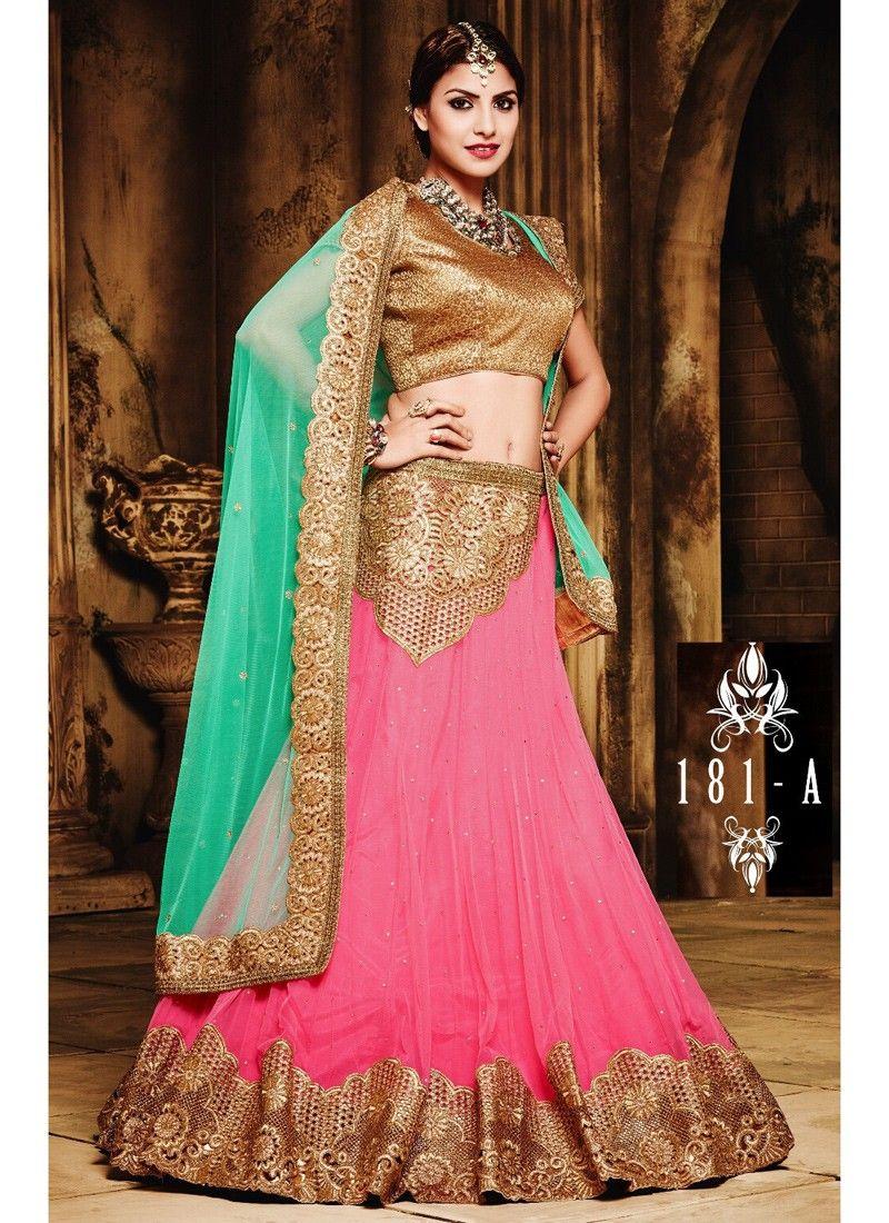 Incredible pink net festive wear designer lehenga choli indian