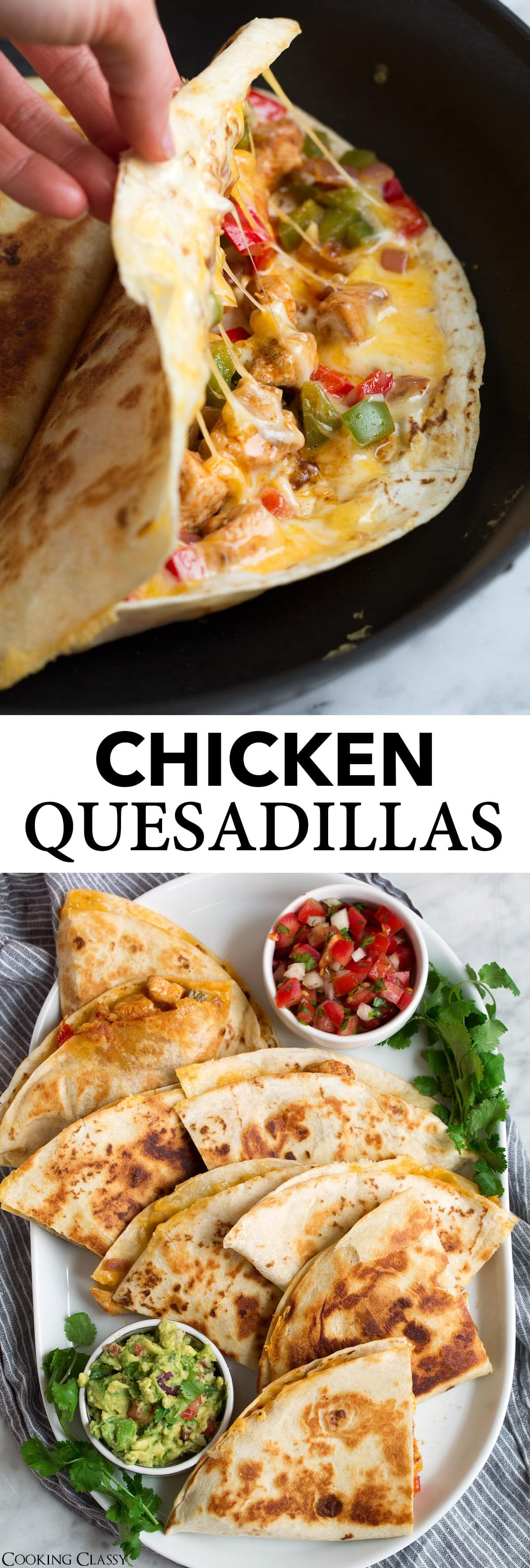 Loaded Chicken Quesadillas - The ultimate Quesadillas recipe! These are brimming with two kinds of gooey melted cheese and a flavorful, fajita style chicken and sautéed pepper filling. Talk about delicious Mexican comfort food everyone will go crazy for! #quesadillas #mexican #food #mexicanchickentacos
