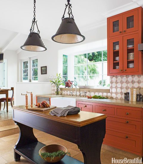 The Cabinets Painted In Benjamin Moore Aura Salsa Dancing Bring Drama To This California Kitchen