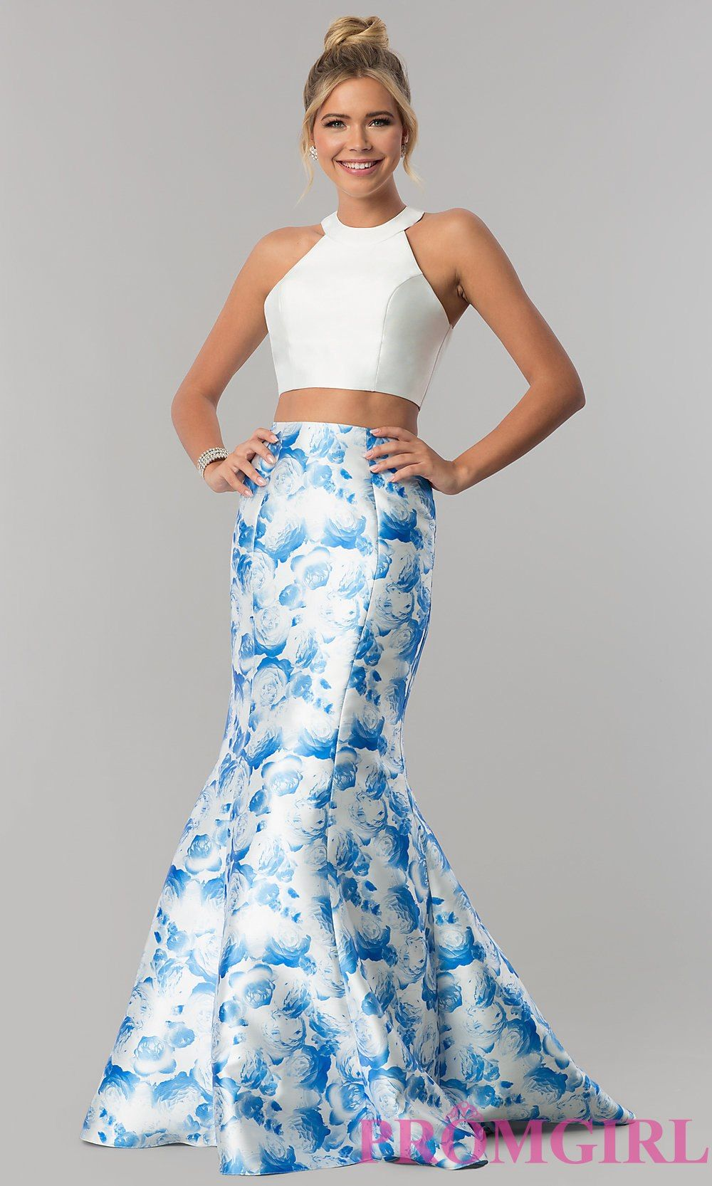 Highneck blue print twopiece prom dress prom dress pinterest