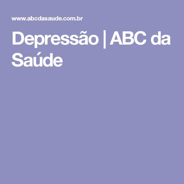 Depressão   ABC da Saúde