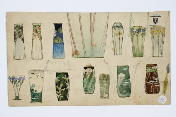 Gustav Gaudernack. Fourteen sketches with different design for vases in silver and enamel. Watercolor.1905-1910