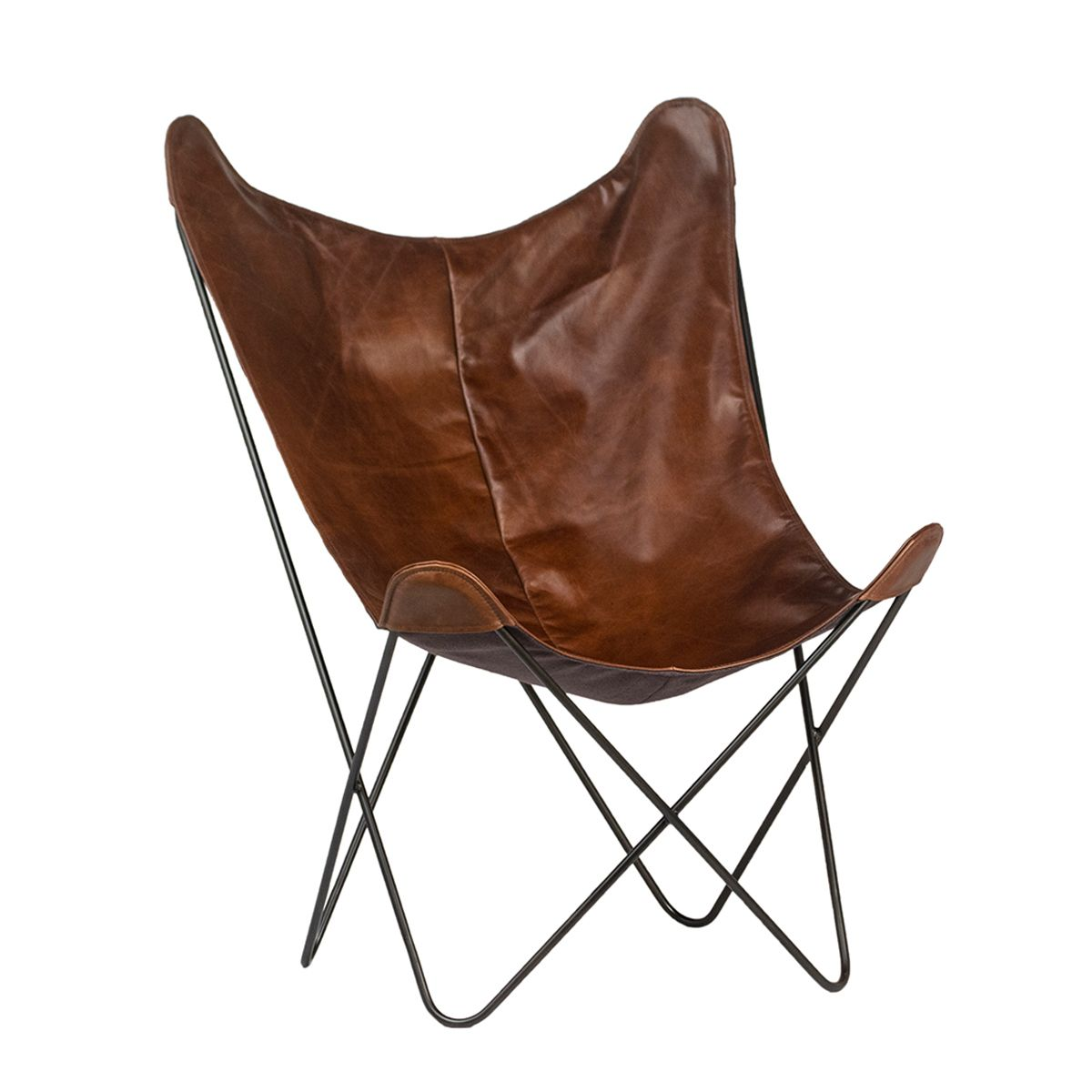 340d5b42b2 Brown leather scoop chair with black iron frame. Modern