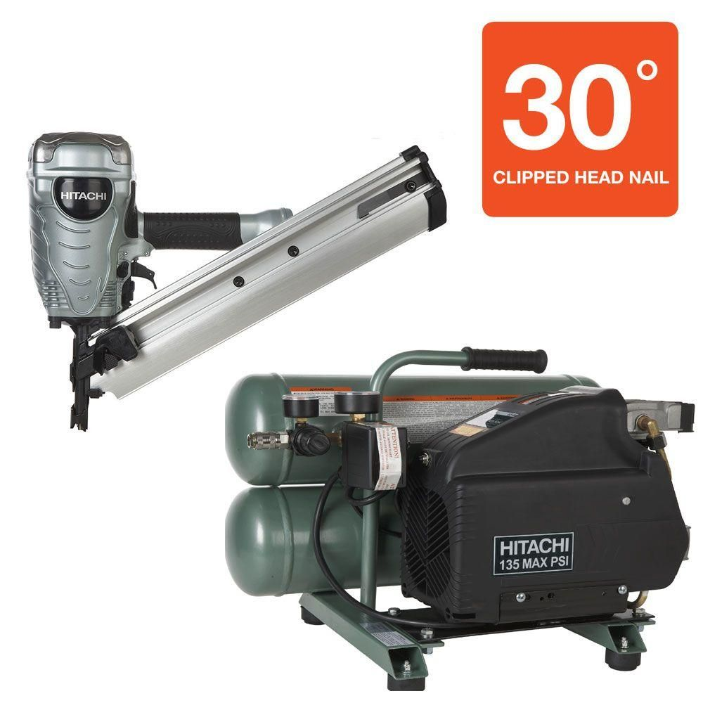 Hitachi 2-Piece 3.5 in. Paper Clipped-Head Framing Nailer and 4 Gal ...