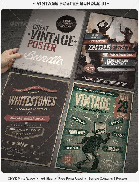 Vintage Poster Bundle III Vintage posters, Flyer template and Fonts - retro flyer templates