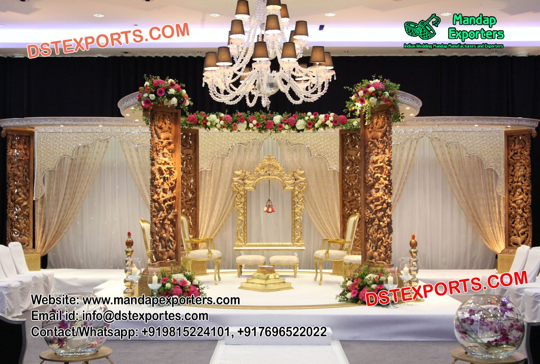 Wedding gate and stage decoration  Elegant Wedding Wooden Carved Mandap mandapexporter This set