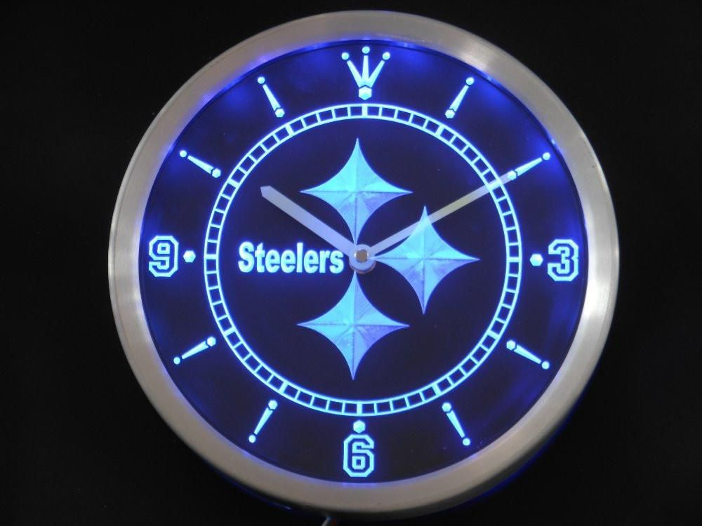 Pittsburgh Steelers Neon Sign Led Wall Clock Best Funny Store Led Wall Clock Wall Clock Clock
