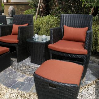 Bandio Outdoor 5 Piece Brown Wicker Chat Set By Corvus By Corvus