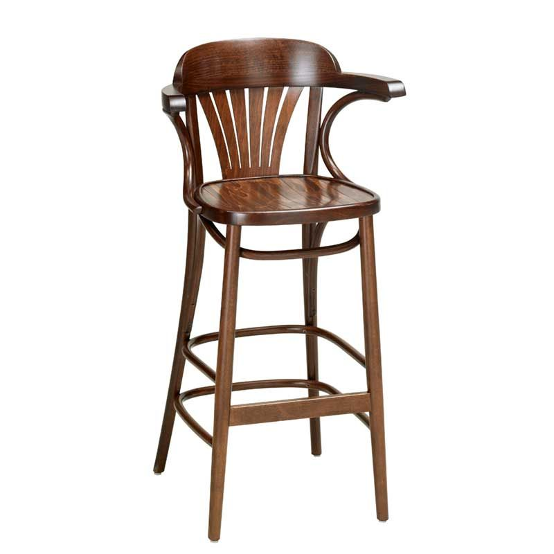 Fan back bentwood bar stool with arms Indoor and Outdoor