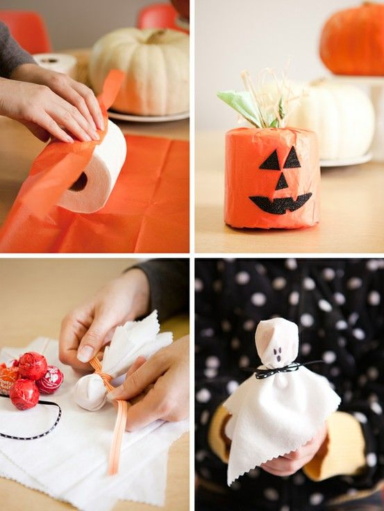 Wrap toilet paper with different pumpkin faces, put on the back of - how to make homemade halloween decorations for kids