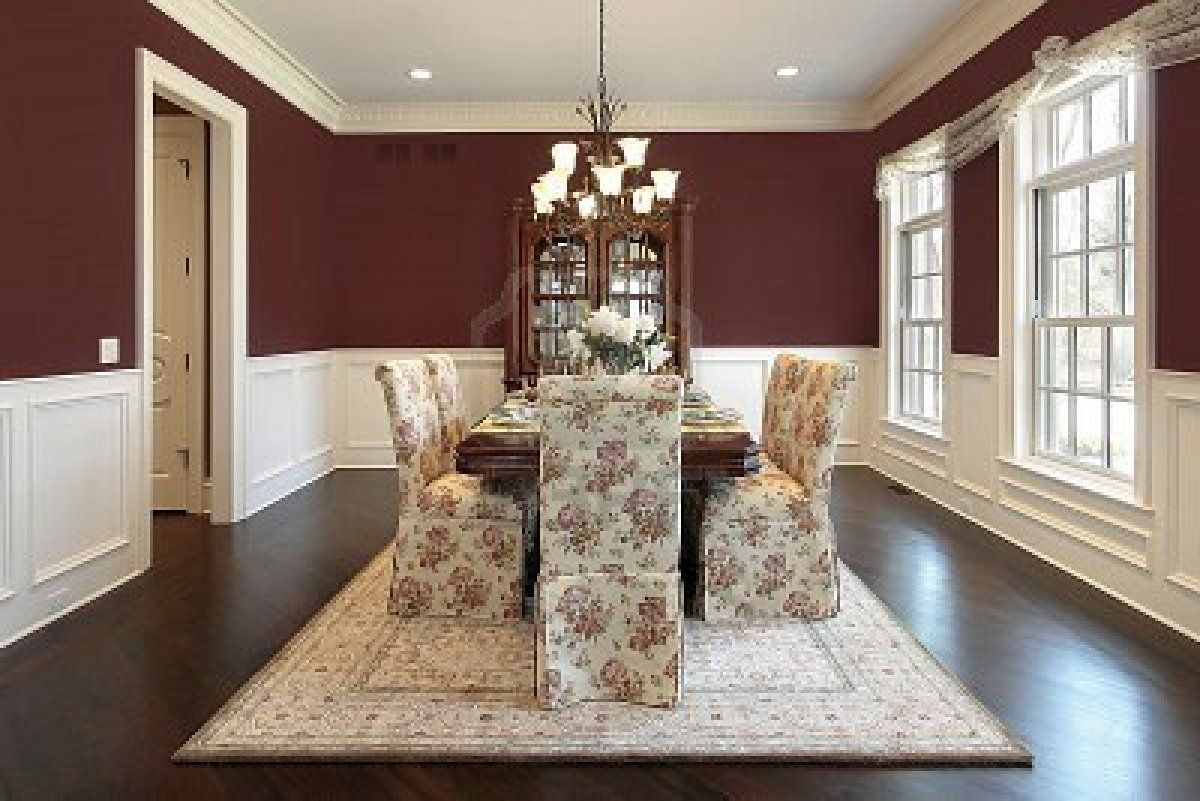 Picture Of Dining Room With Red Walls Stock Photo, Images And Stock  Photography.
