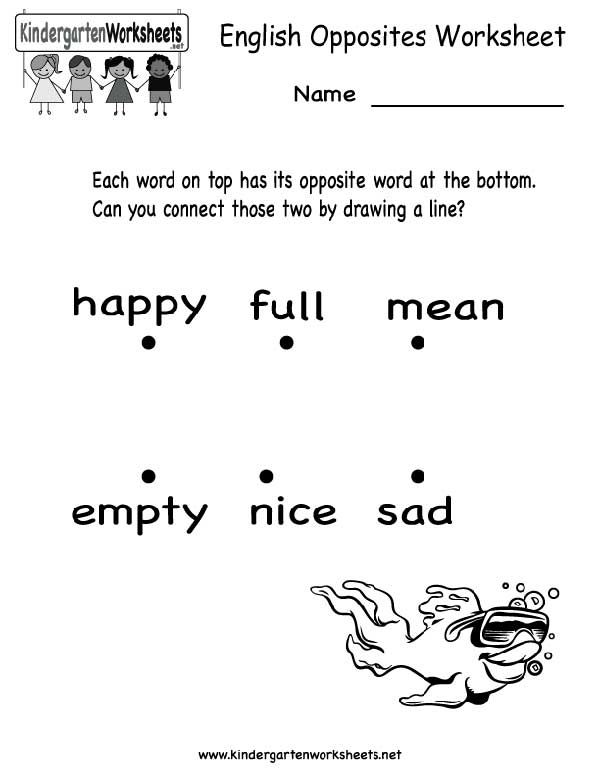 english opposites worksheet printable | Family - Kids Learning ...