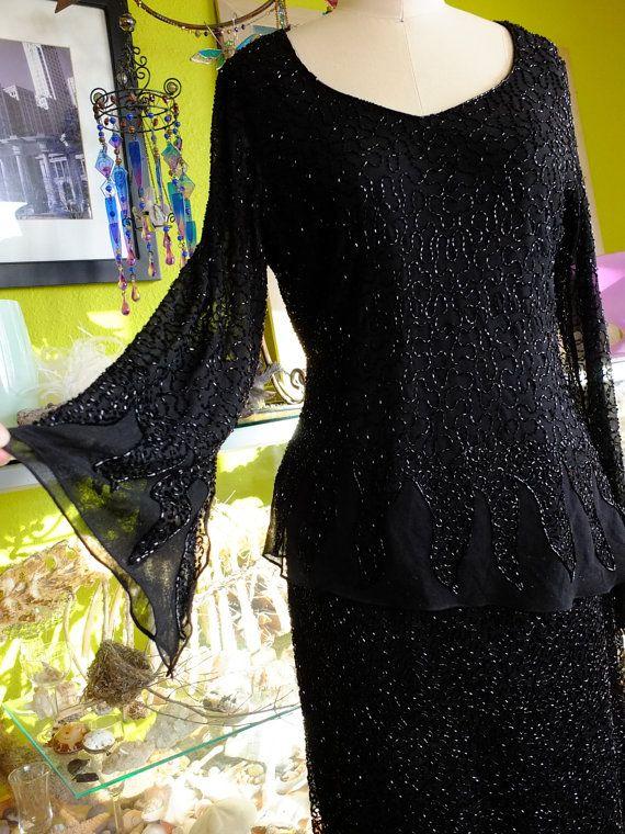 Black beaded top and skirt poet sleeve by RetroVintageWeddings