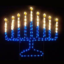 Lighted Outdoor Chanukah Menorah Yard Art Decoration