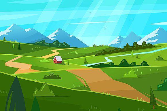 Natural Landscape Vector By Krol On Creativemarket Landscape Illustration Nature Vector Vector Illustration