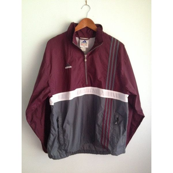 Mint Vintage Adidas Windbreaker Anorak Pullover Maroon With Gray... ($25) Liked On Polyvore ...