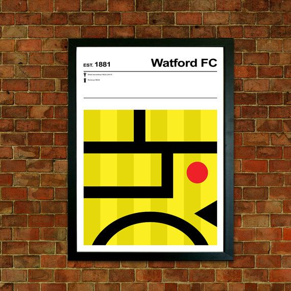 Watford Football Club Print, Football pictures, Mid Century Art ...