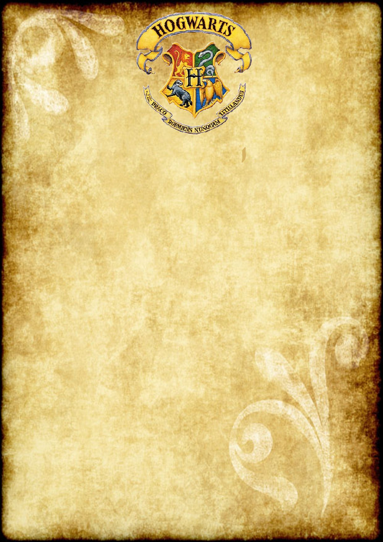 Free Printable Harry Potter Party blank parchment (A4 size