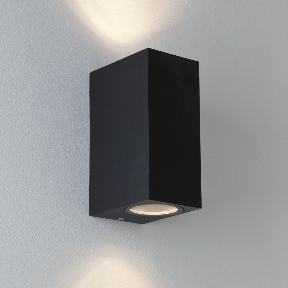 2 x Modern Rectangular Up Down Matt Black Outdoor Wall Light Fixture GU10