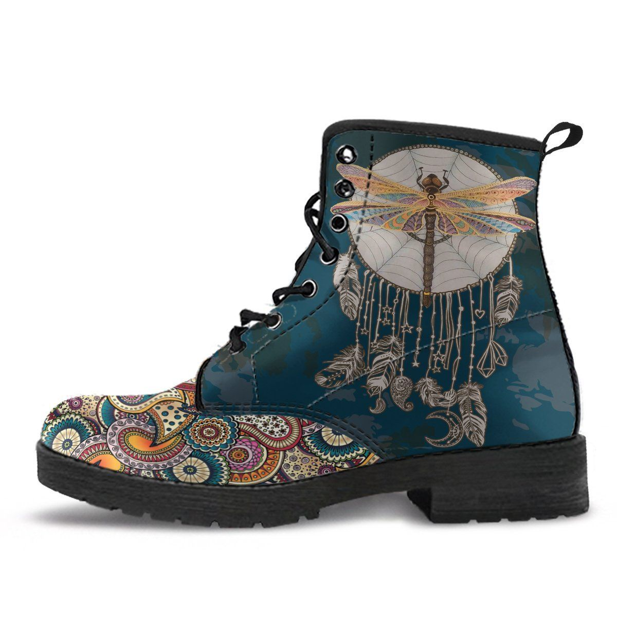 Women/'s Boots Mandala Design Girly Combat boot Combat Style Boots Namaste Boots Vegan Leather Hippie Boot Watercolor Dragonfly