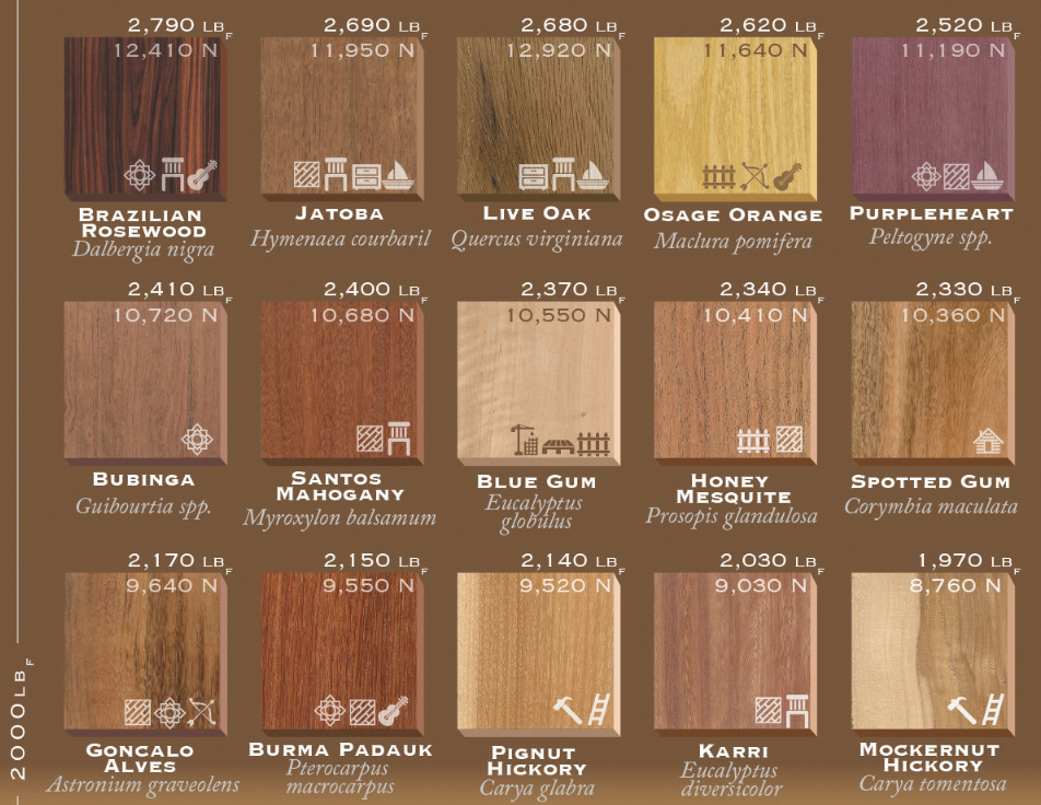 This Wood Hardness List Ranks 75 Types Of Wood By Their Janka Rating Explore Our Wood Density Chart To S Types Of Wood Types Of Hardwood Floors Hardwood Types