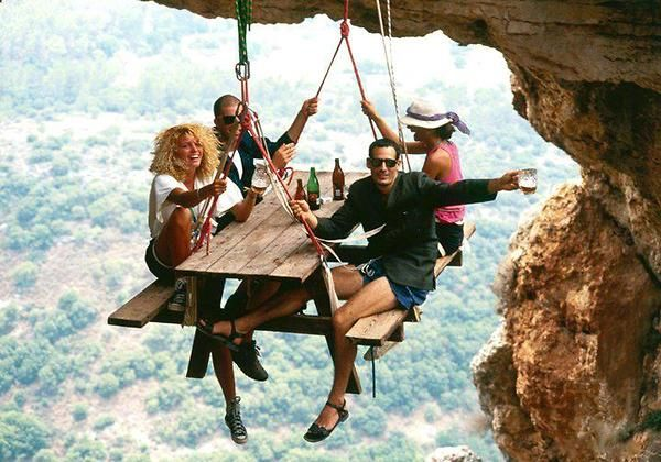 Cliff Hanging Picnic..real Or Not Real..the Picture Is