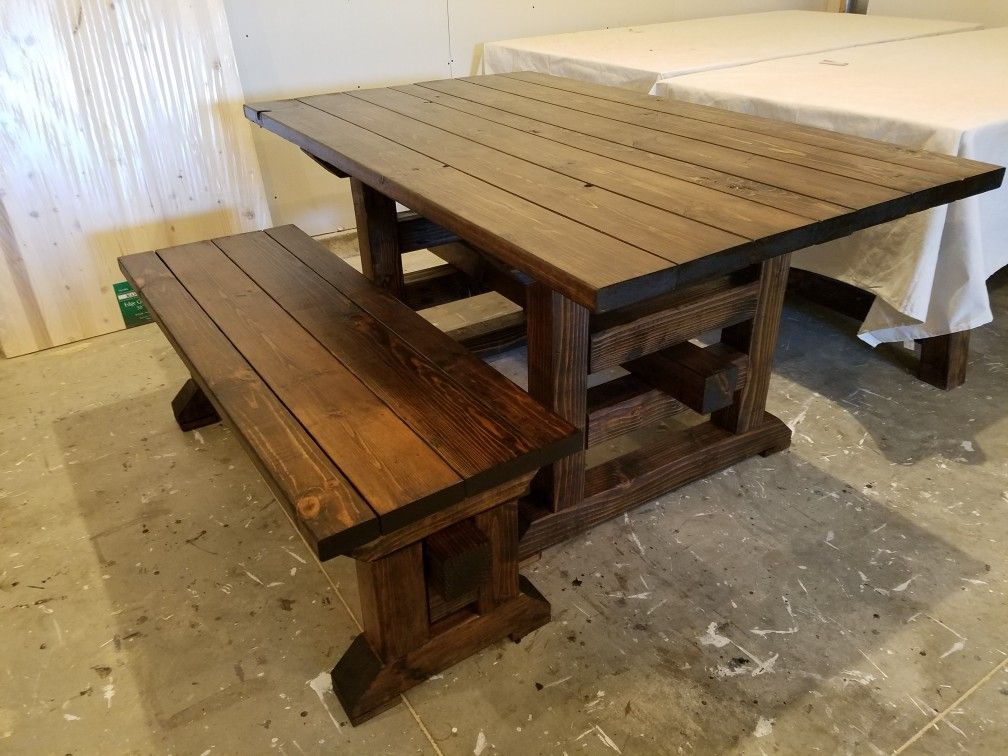 Viking Table And Bench Stained In Espresso Table Farmhouse
