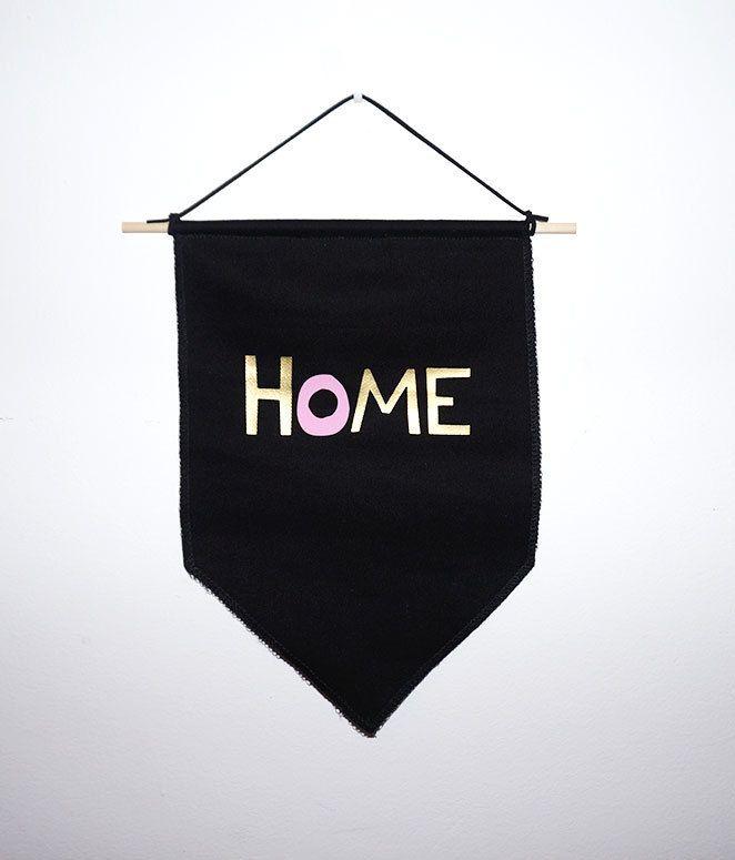 home small black banner flag black flag gold wall flag press heat