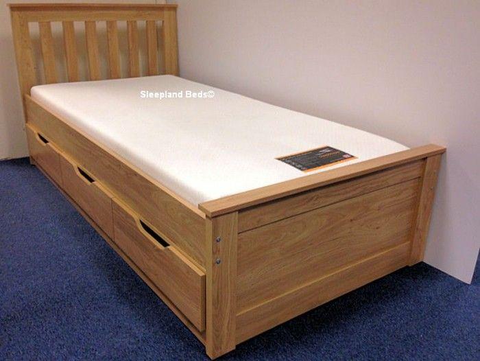 Single Bed With Storage Part - 37: Oak Almeria Single Bed With Storage Drawers | Low Captains Cabin Bed