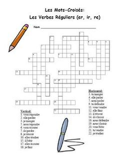 FREE-French Regular (er, ir, re) Verb Crossword Puzzle | francais ...