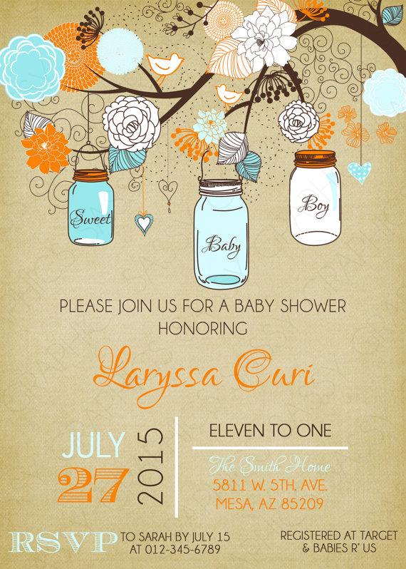 Mason Jars Baby Shower Invitation Baby Boy Blue Orange Floral Rustic Burlap  Baby Shower Invitation Boy DIY Printable Invite PDF (#157)