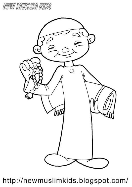 Coloring Page Muslim Boy Boyama Sayfalari