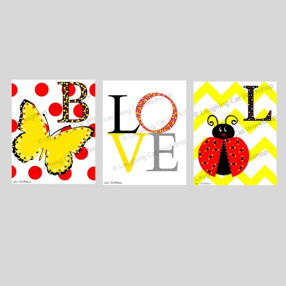 Baby girl nursery art ladybug butterfly by laughingcatworkshop, $44.00