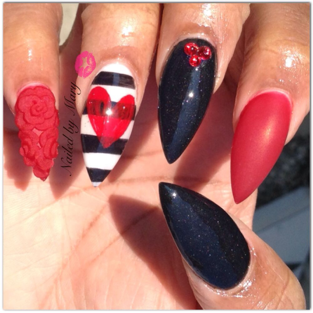 Valentine Heart Black Red Matte Stiletto 3d Art Nails Valentines